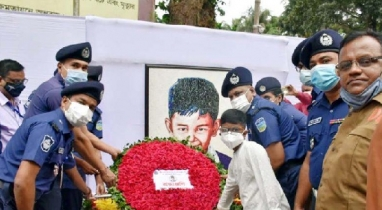 শেরপুরে শেখ রাসেল দিবস উপলক্ষে শ্রদ্ধা নিবেদন করেছে জেলা পুলিশ